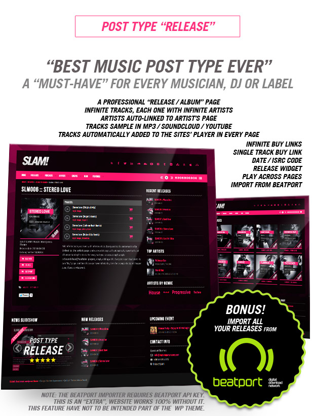 Album Release and Songs music wordpress theme